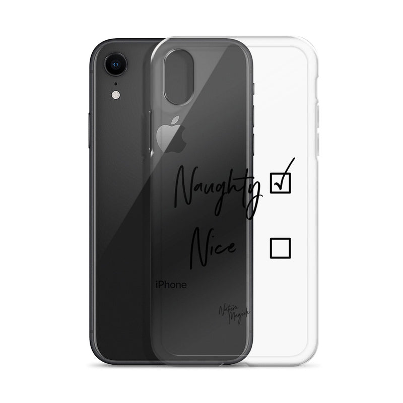 Clear Christmas iPhone Case Naughty or Nice by Nature Magick