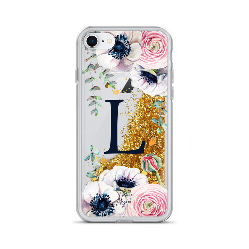 "Monogram Glitter iPhone Case Initial ""L"" Rose Floral by Nature Magick"