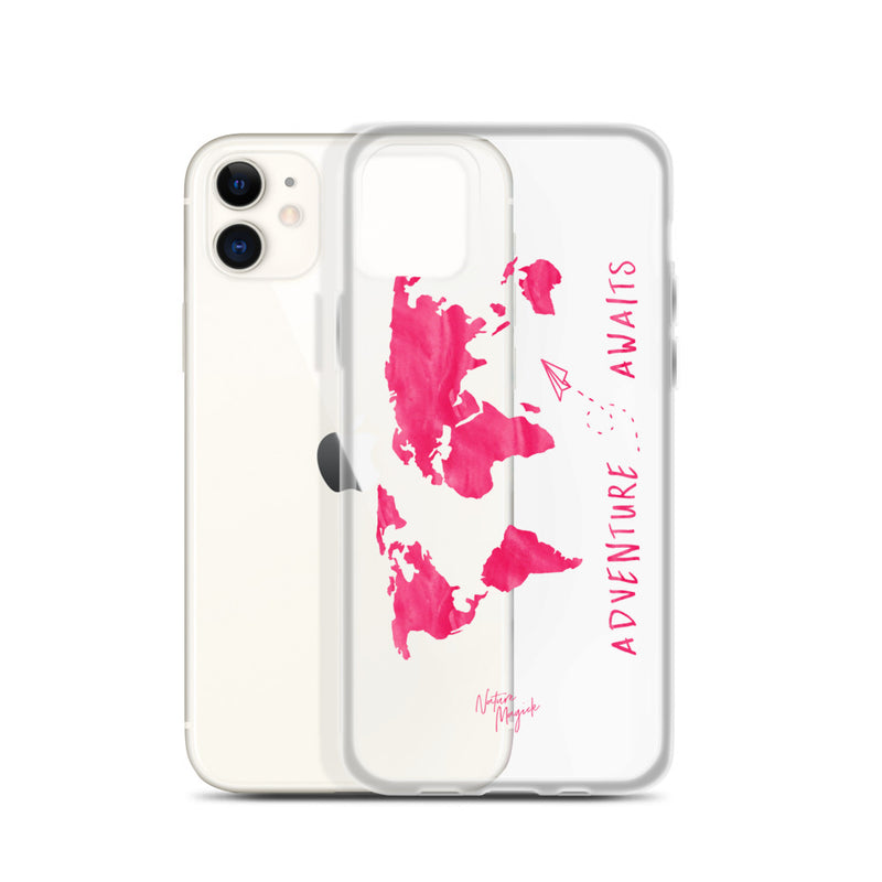 Clear World Map iPhone Case Adventure Awaits Pink by Nature Magick
