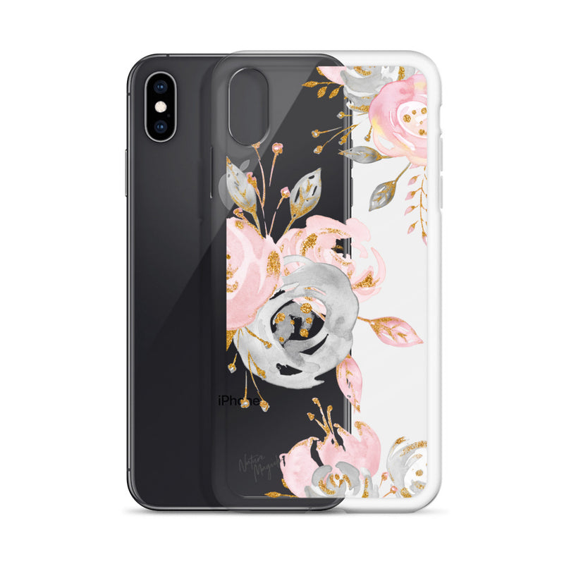 Clear Flower Rose Gold iPhone Case by Nature Magick