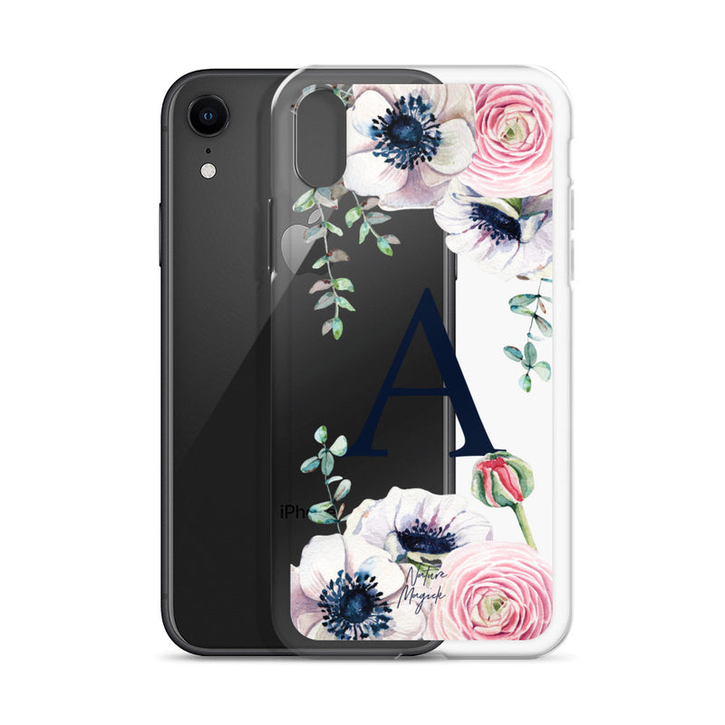 "Clear Monogram iPhone Case Initial ""A"" Rose Flowers by Nature Magick"