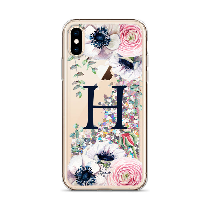 "Monogram Glitter iPhone Case Initial ""H"" Rose Floral by Nature Magick"