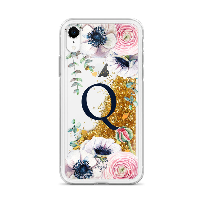 "Monogram Glitter iPhone Case Initial ""Q"" Rose Floral by Nature Magick"