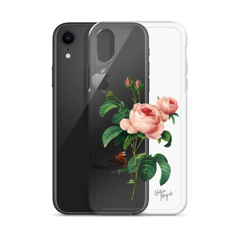 Clear Vintage Floral iPhone Case Rose Pink Roses and Butterfly by Nature Magick