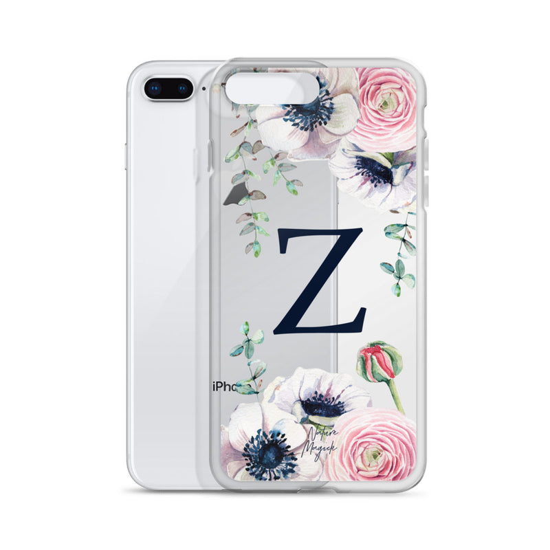 "Clear Monogram iPhone Case Initial ""Z"" Rose Flowers by Nature Magick"