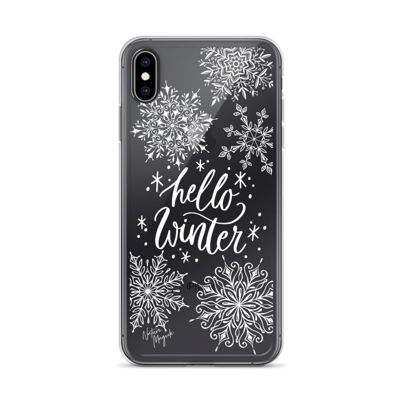 Clear Christmas iPhone Case Hello Winter by Nature Magick