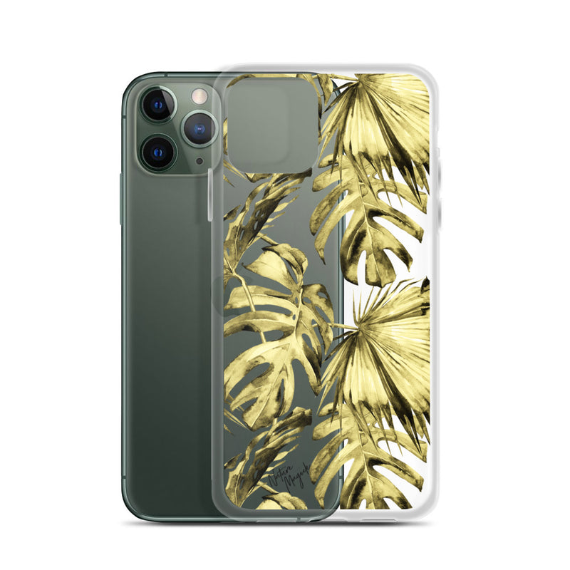 Clear Tropical Palm Leaf iPhone Case Yellow by Nature Magick