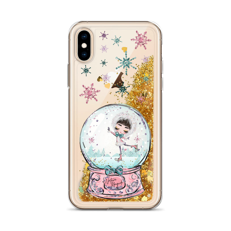 Christmas Snow Globe Glitter iPhone Case Ice Skating by Nature Magick