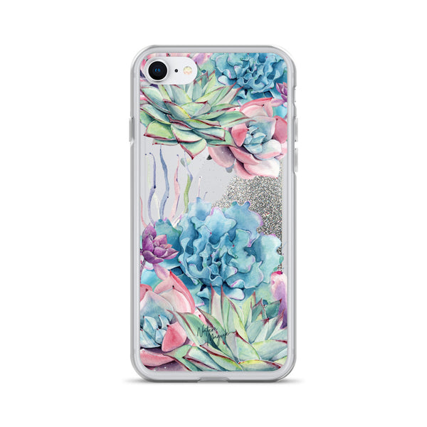 Succulent Garden Glitter iPhone Case by Nature Magick