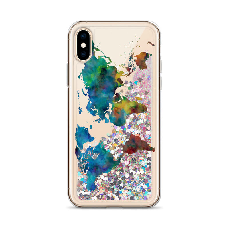 Watercolor World Map Glitter iPhone Case by Nature Magick