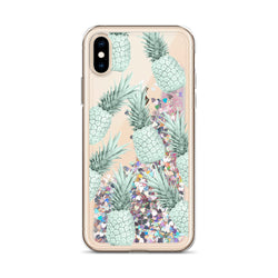 Pineapple Glitter iPhone Case in Green Pattern by Nature Magick