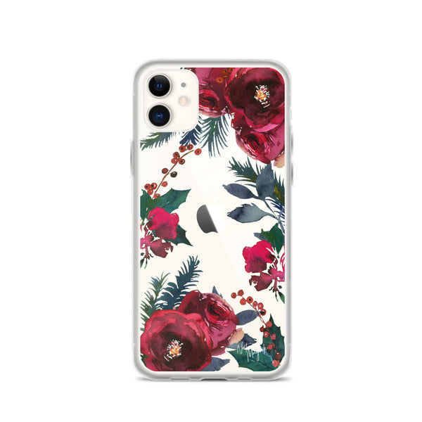 Clear Christmas iPhone Case in Red Roses by Nature Magick