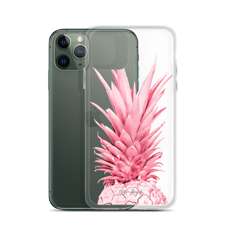 Clear Pineapple iPhone Case Red Hot Pink Top by Nature Magick