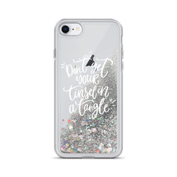 Christmas Glitter iPhone Case Don't Get Your Tinsel in a Tangle by Nature Magick