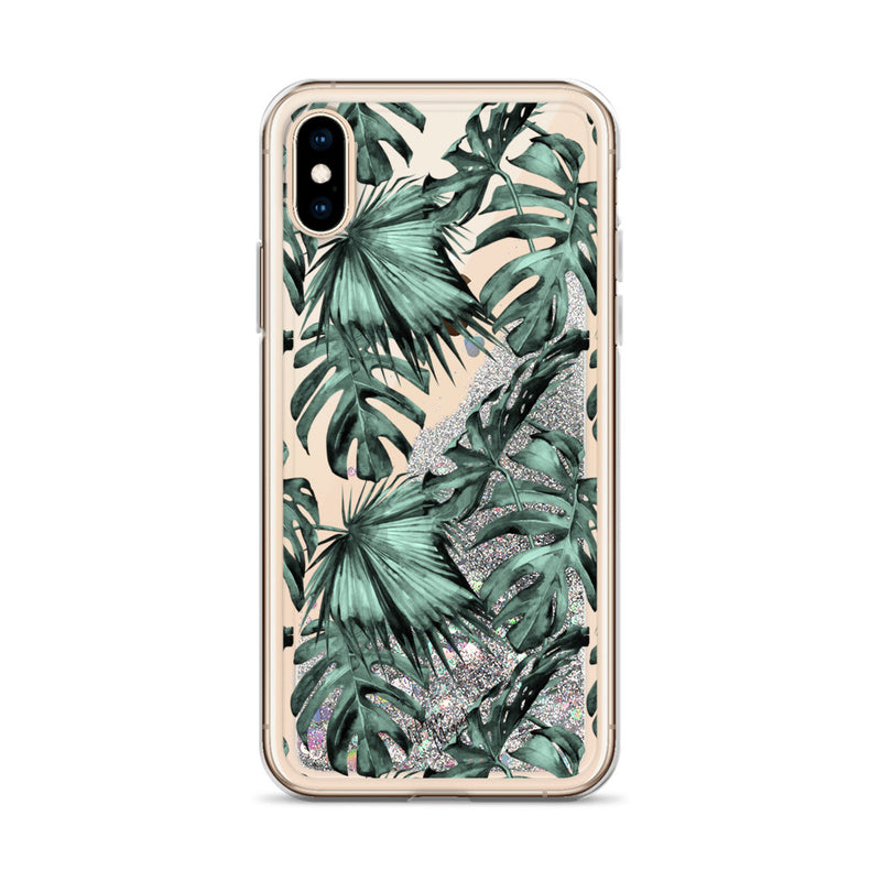 Green Palm Leaf Glitter iPhone Case by Nature Magick