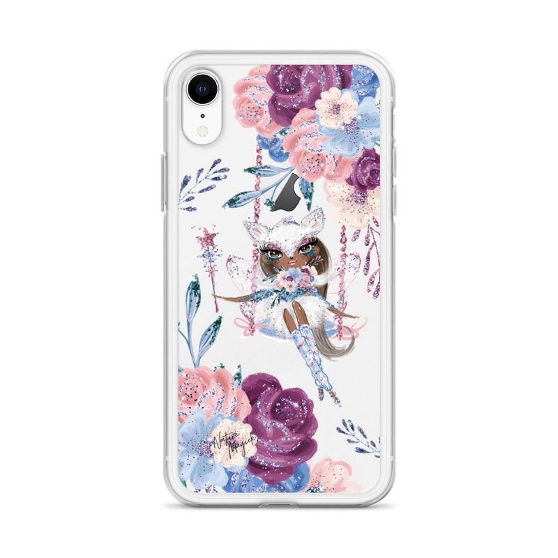 Clear Winter Fox Fairy Flower iPhone Case by Nature Magick