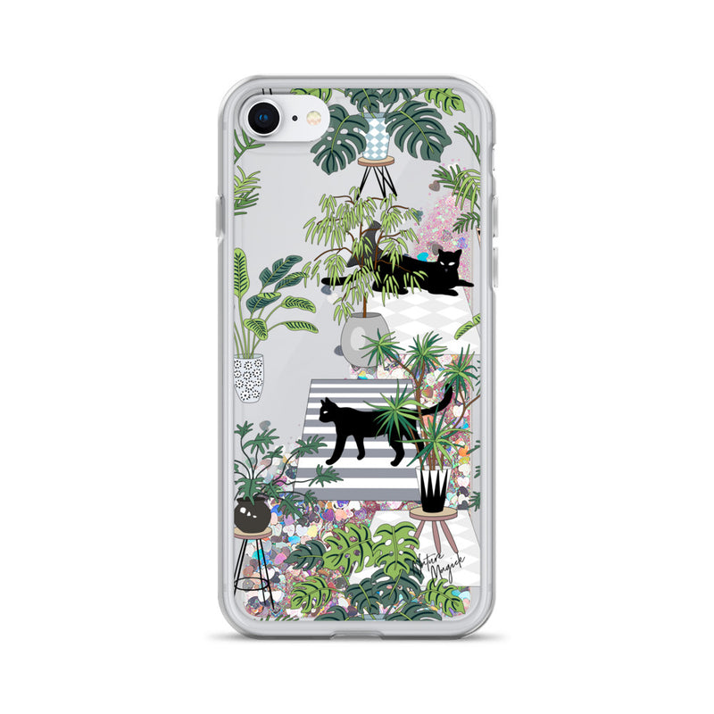 Black Cat Glitter iPhone Case by Nature Magick