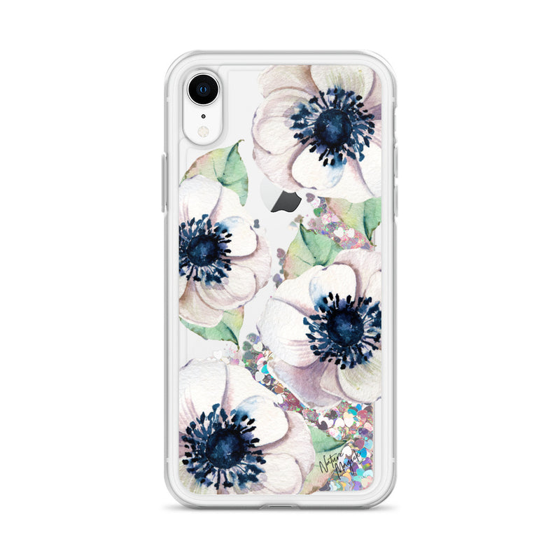 Flower Glitter iPhone Case White Floral by Nature Magick