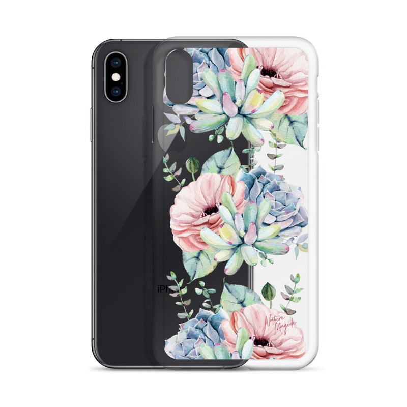 Clear Succulent Garden iPhone Case Pink Floral by Nature Magick