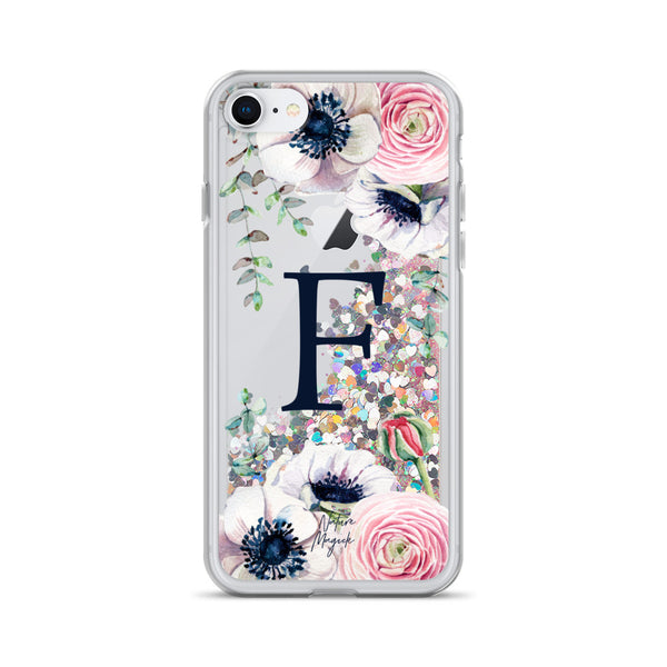 "Monogram Glitter iPhone Case Initial ""F"" Rose Floral by Nature Magick"
