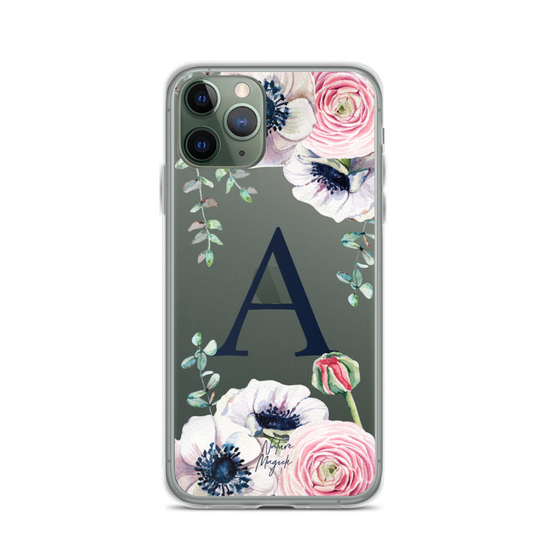 "Monogram iPhone 11 Pro case initial ""A"" rose flowers by Nature Magick"