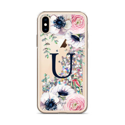 "Monogram Glitter iPhone Case Initial ""U"" Rose Floral by Nature Magick"