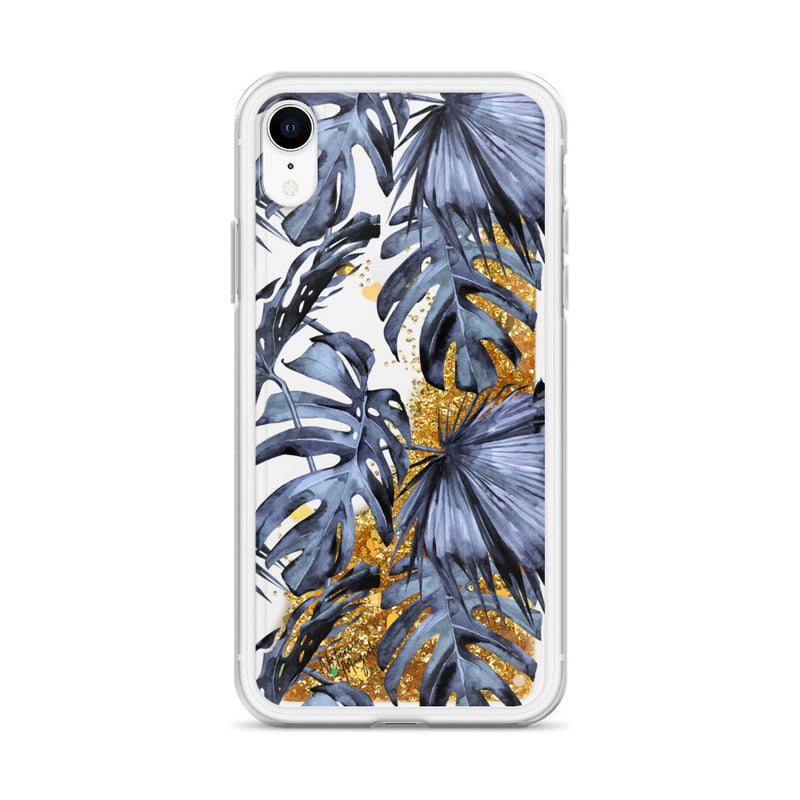 Tropical Palm Leaf Glitter iPhone Case Navy Blue by Nature Magick