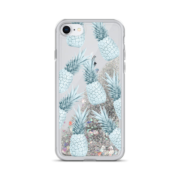 Pineapple Glitter iPhone Case Turquoise Teal Pattern by Nature Magick