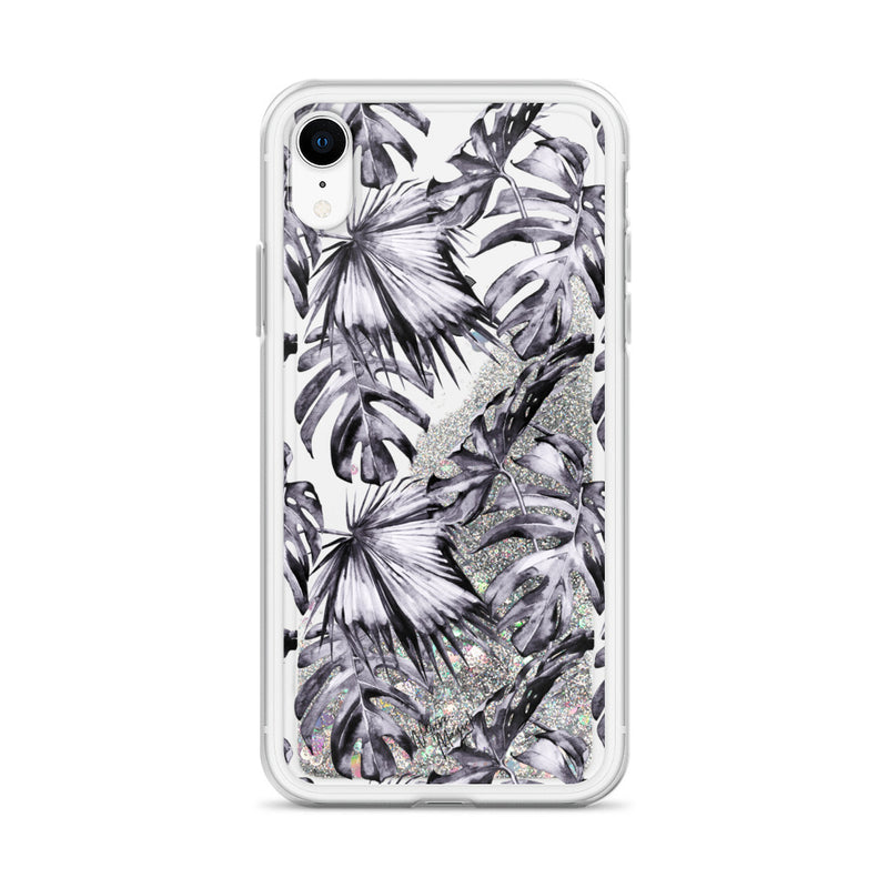 Tropical Palm Leaf Glitter iPhone Case Purple Leaves by Nature Magick