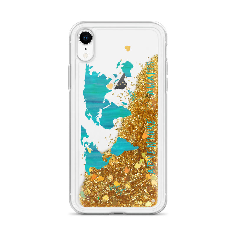 World Map Glitter iPhone Case Adventure Awaits Teal by Nature Magick