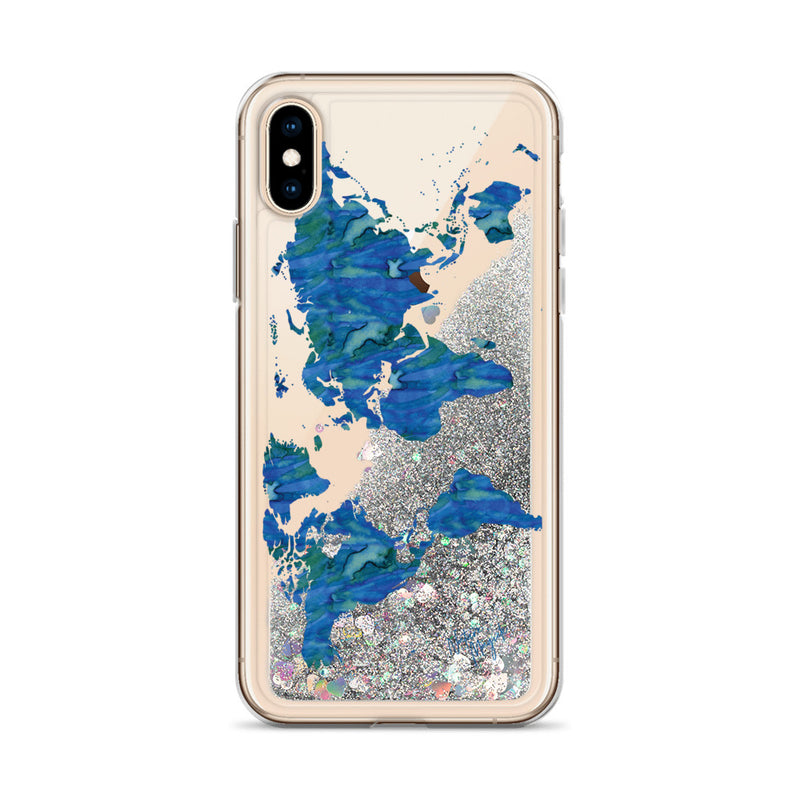 World Map Glitter iPhone Case by Nature Magick in Ocean Blue
