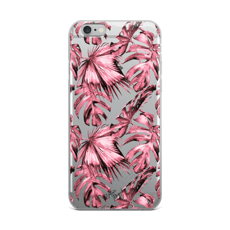 Clear Tropical Palm Leaf iPhone Case Pink by Nature Magick