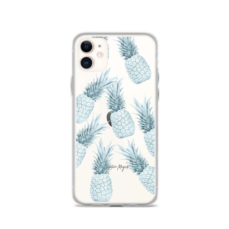 Clear Pineapple iPhone Case Turquoise Teal Pattern by Nature Magick