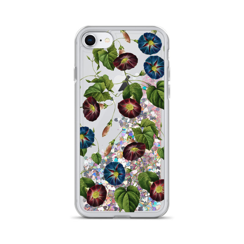 Vintage Floral Glitter iPhone Case Purple Blue Flowers by Nature Magick