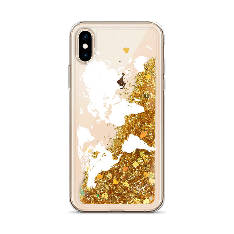World Map Glitter iPhone Case by Nature Magick in White