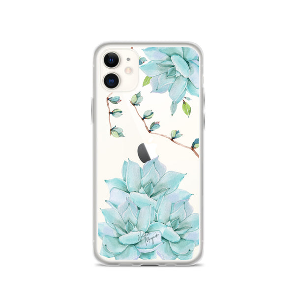 Clear Succulent Phone Case for iPhone Turquoise Teal Blue by Nature Magick
