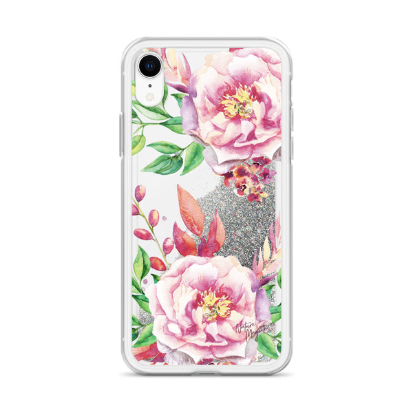 Flower Glitter iPhone Case Pink Roses by Nature Magick