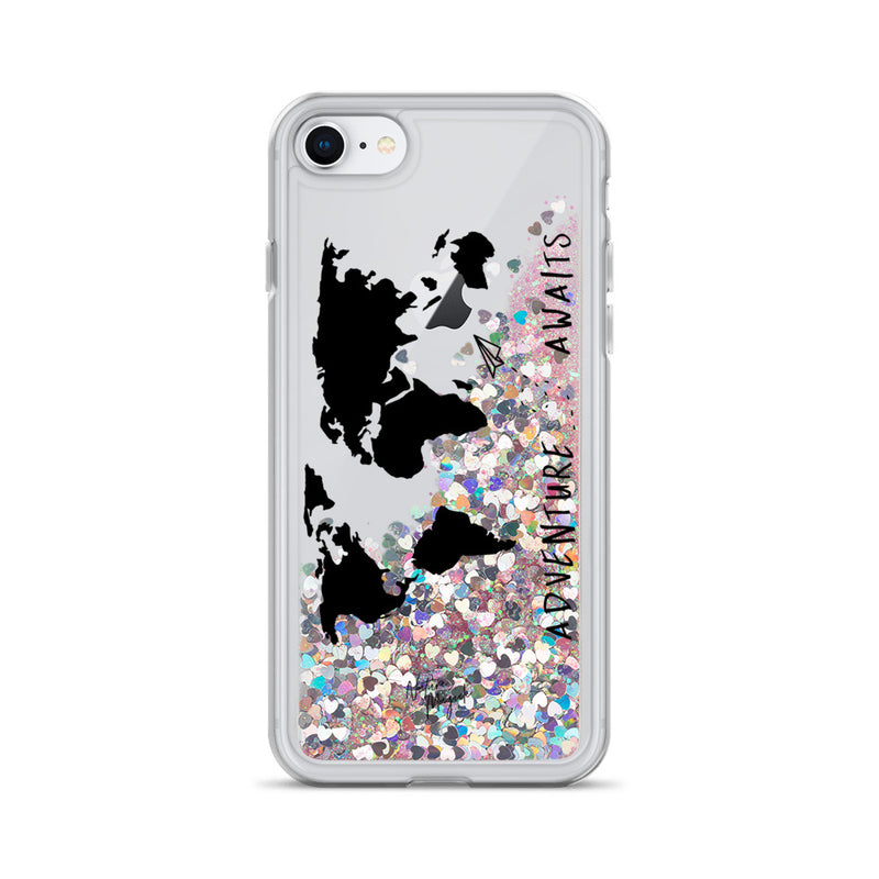World Map Glitter iPhone Case Adventure Awaits Black by Nature Magick
