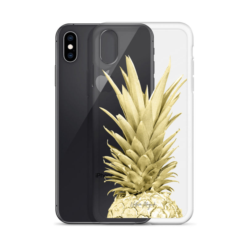 Clear Gold Pineapple iPhone Case by Nature Magick