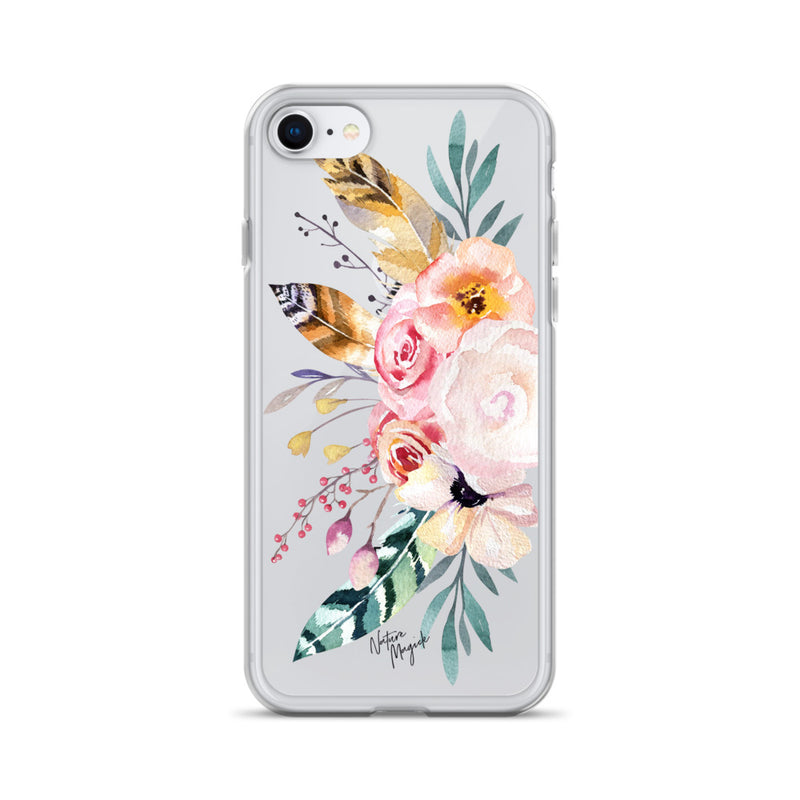 Clear Flower iPhone Case Rose Feather Floral by Nature Magick
