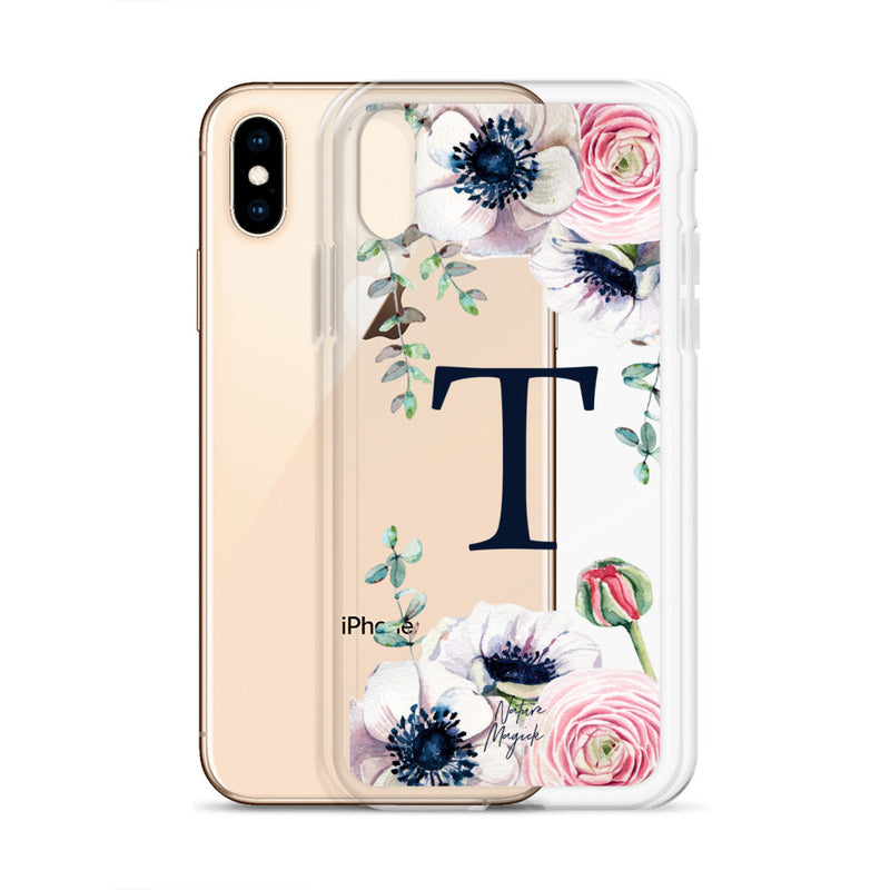 "Clear Monogram iPhone Case Initial ""T"" Rose Flowers by Nature Magick"