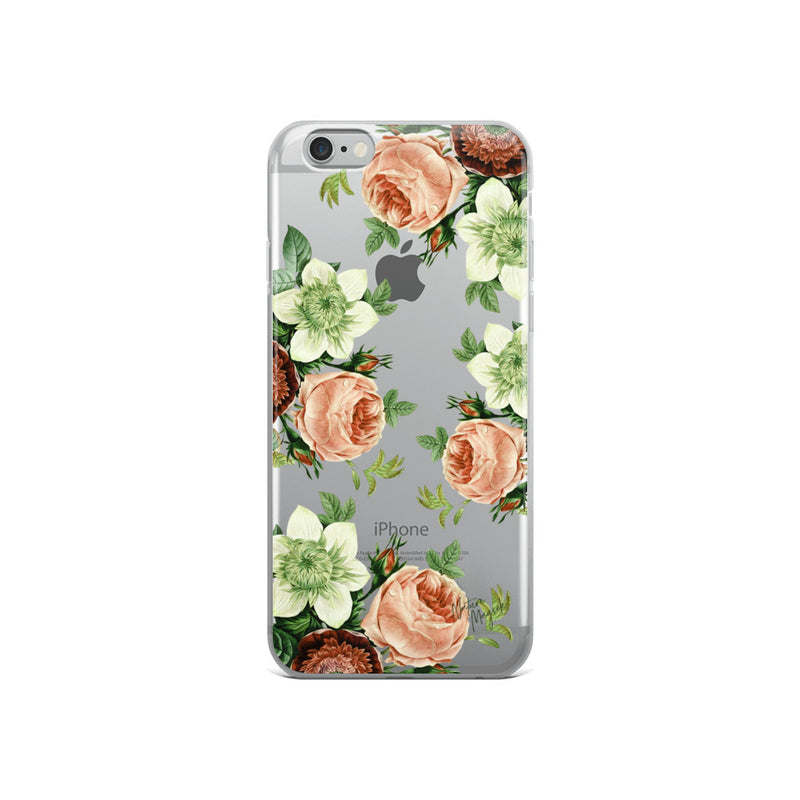 Clear Vintage Floral iPhone Case Rose Pink Roses by Nature Magick