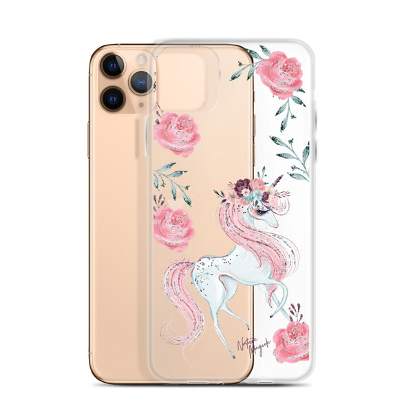 Clear Unicorn iPhone Case by Nature Magick in Pink Roses