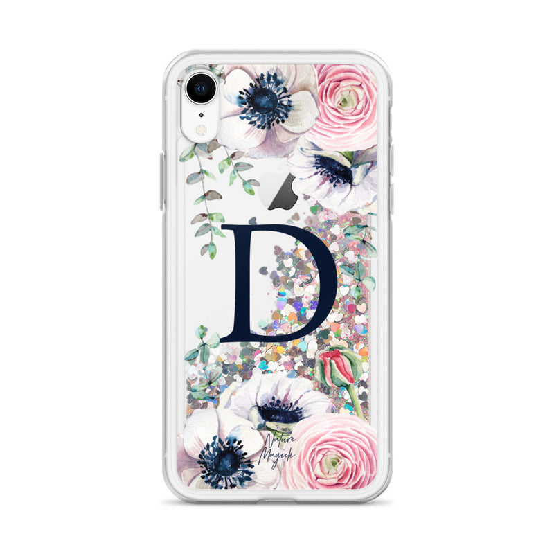 "Monogram Glitter iPhone Case Initial ""D"" Rose Floral by Nature Magick"