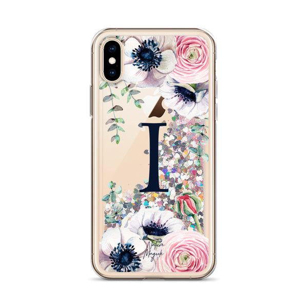 "Monogram Glitter iPhone Case Initial ""I"" Rose Floral by Nature Magick"