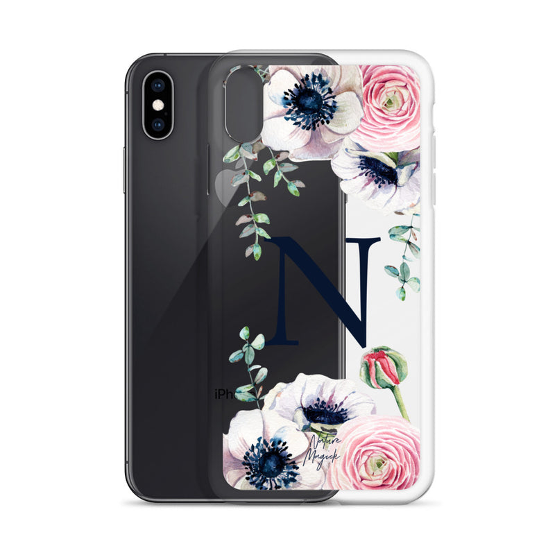 "Clear Monogram iPhone Case Initial ""N"" Rose Flowers by Nature Magick"