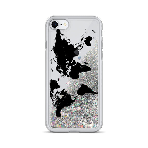 World Map Glitter iPhone Case by Nature Magick in Black