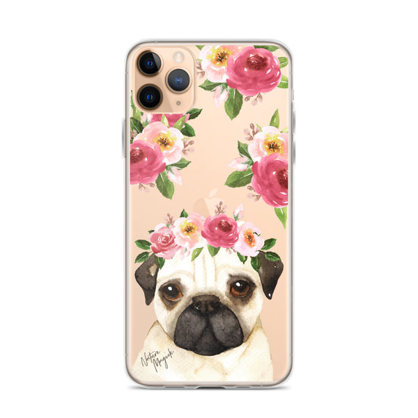 Clear Pug Dog Phone Case for iPhone by Nature Magick