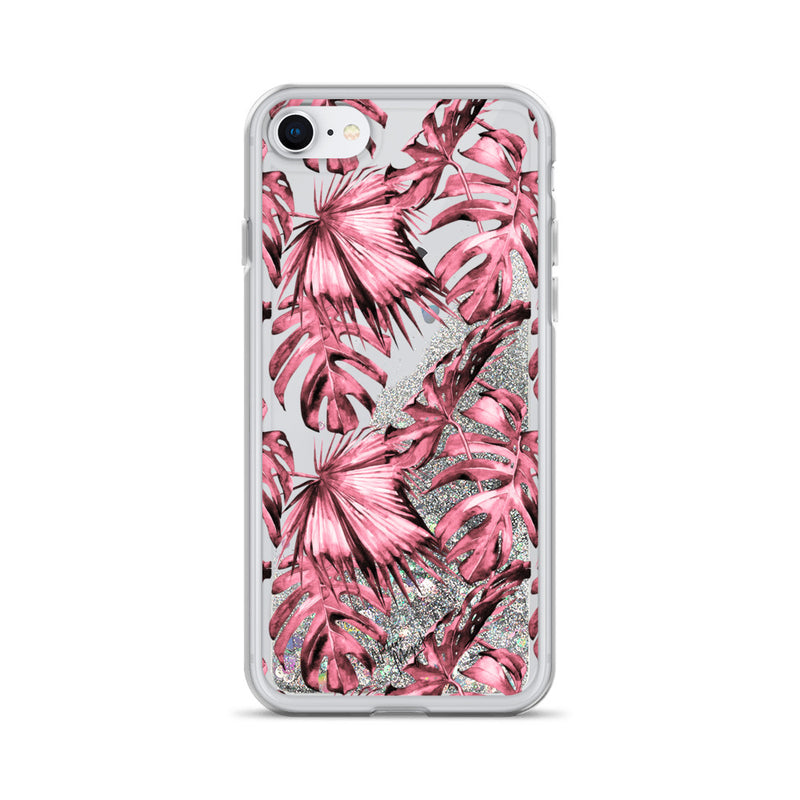 Tropical Palm Leaf Glitter iPhone Case Pink by Nature Magick