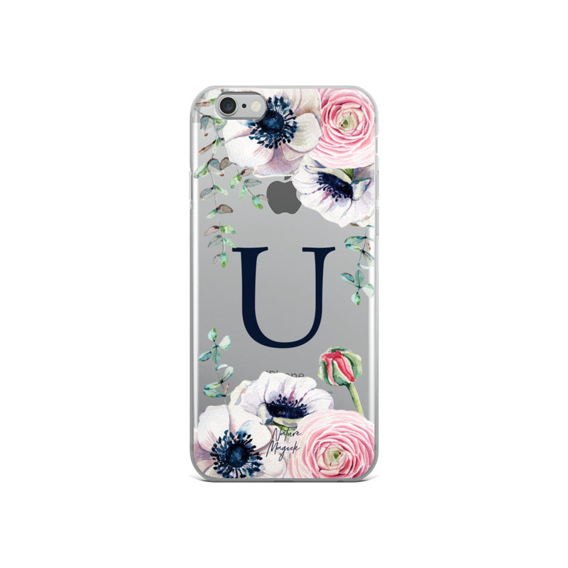"Clear Monogram iPhone Case Initial ""U"" Rose Flowers by Nature Magick"